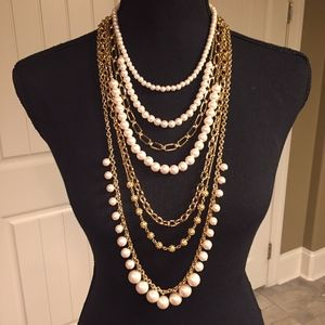 Ann Taylor Multistrand Pearl Statement Necklace